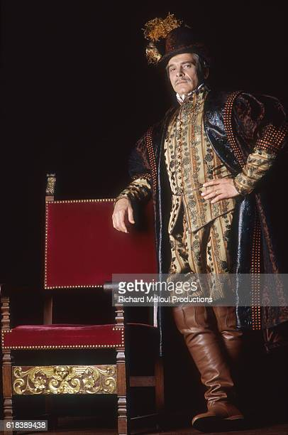 French actor Jacques Weber wears a theatrical costume and leans on a chair on the set of The Taming of the Shrew at the Theatre National de Chaillot in Paris. The French translation of Shakespeare's play, La Mégère Apprivoisée is directed by Jérome Savary.