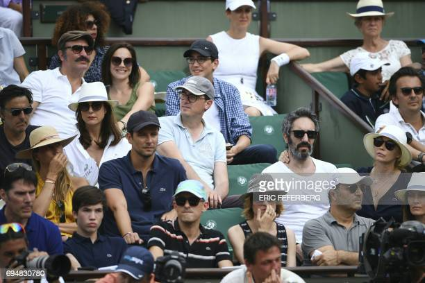 French actor Jean Dujardin and his partner former French figure skater Nathalie Pechalat and French actress Emmanuelle Beart and her partner Frederic...