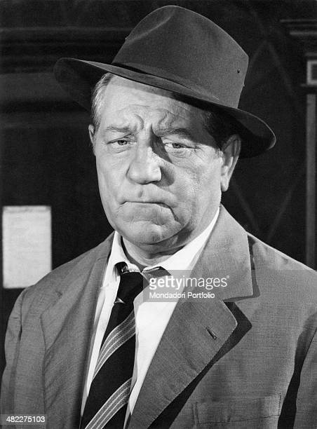 French actor Jean Gabin playing Maigret in Inspector Maigret. France, 1958