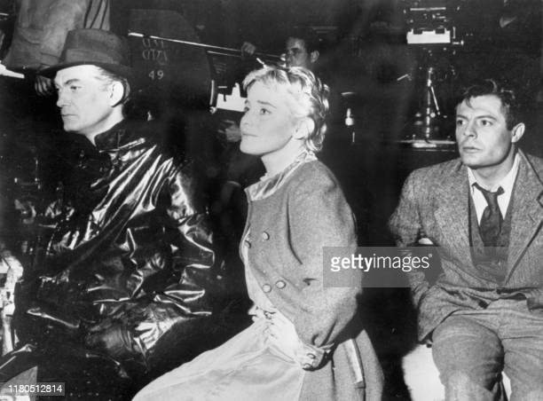 French actor Jean Marais Maria Schell and Marcello Mastroianni during the filming of Le Notti Bianche in 1957 Marcello Vincenzo Domenico Mastrojanni...