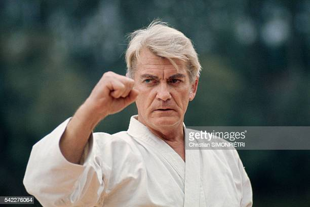French actor Jean Marais practices karate