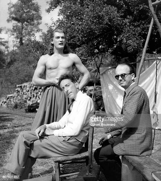 French actor Jean Marais with director and screenwriter Jean cocteau on the set of his movie La Belle et la Bête