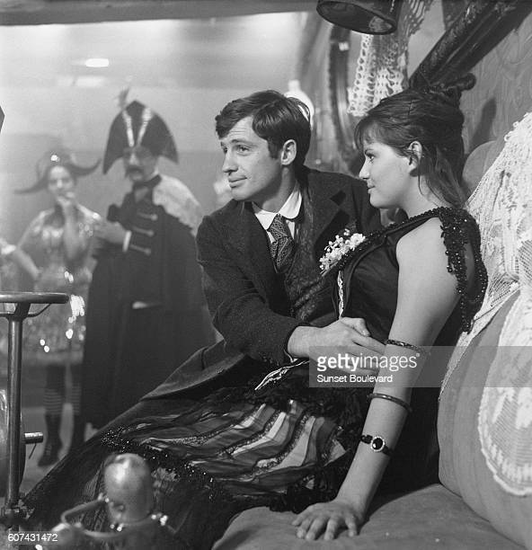 French actor Jean Paul Belmondo and Italian actress Claudia Cardinale on the set of La Viaccia, based on the novel by Mario Pratesi and directed by...