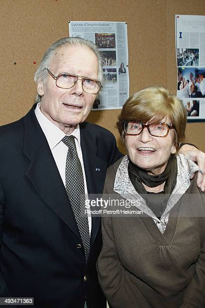 French actor Jean Piat and his wife Francoise Dorin are pictured after the Laurent Gerra 25 year career show at Theatre du Chatelet on May 21 2014 in...
