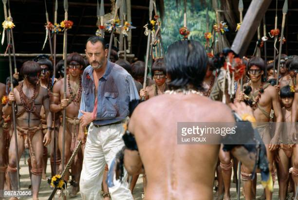 French actor Jean Reno on the set of the film Le Jaguar directed by Francis Veber
