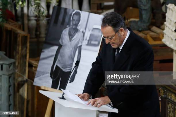 French actor Jean Reno speaks during the funeral ceremony in tribute to the late French singer Johnny Hallyday at La Madeleine Church in Paris on...