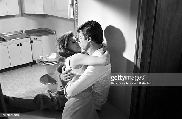 French actor Jean Sorel and American actress Raquel Welch hugging and kissing each other in the film Sex quartet segment Fata Elena Italy 1966