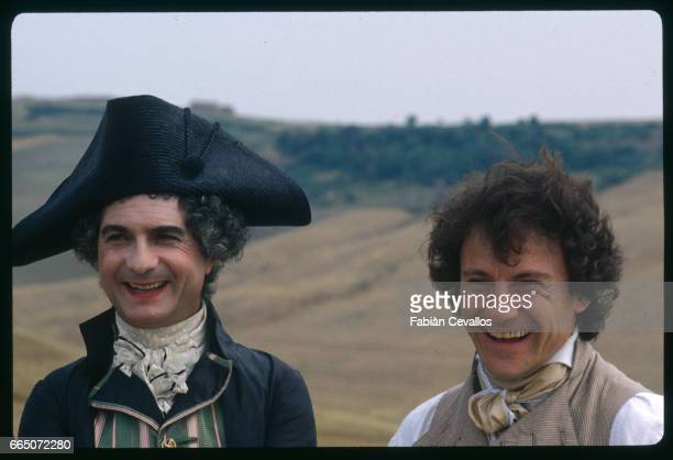 French actor JeanClaude Brialy and American actor Harvey Keitel on the set of La Nuit de Varennes directed by Italian Ettore Scola