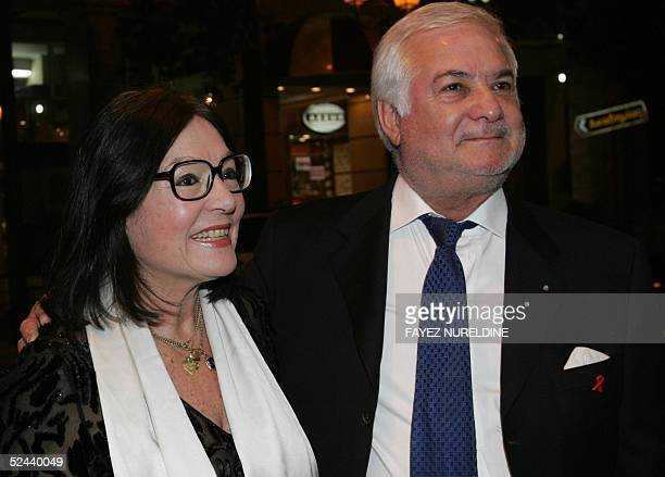 French actor Jean-Claude Brialy and Greek singer Nana Mouskouri arrive to the opening ceremony of the Francophone cinema festival in Attikon cinemax...