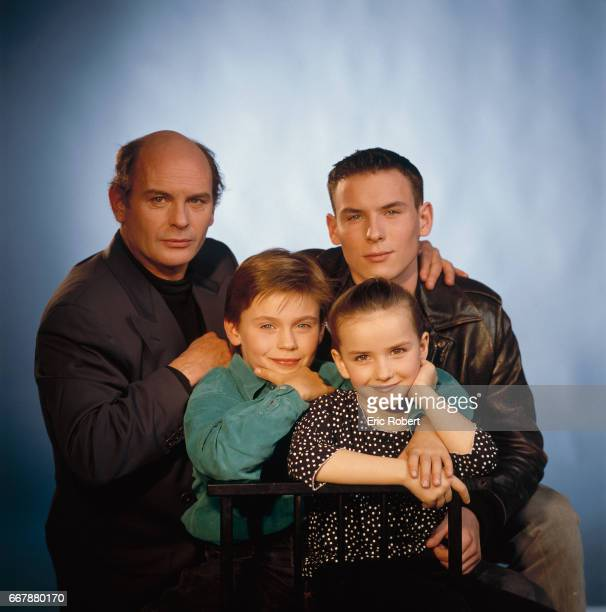 French actor JeanFrancois Stevenin stands with his three children Thomas Sagamore Salome and Robinson