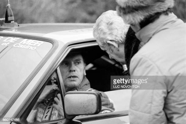 French actor Jean-Louis Trintignant attends on January 24, 1984 the Monte Carlo Rally in Burzet.