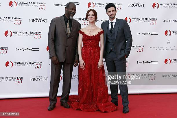 French actor Jean-Michel Martial, French actress Odile Vuillemin and French actor Raphael Ferret pose during the opening ceremony of the 55th...