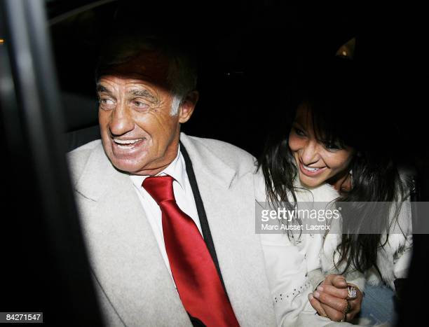 French Actor JeanPaul Belmondo and Barbara Gandolfi are seen leaving the premiere of Un homme et son chien at Gaumont Marignan January 13 2009 in...