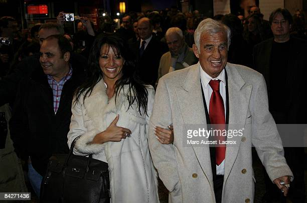 French Actor JeanPaul Belmondo and Barbara Gandolfi leaving the premiere of Un homme et son chien at Gaumont Marignan January 13 2009 in Paris France