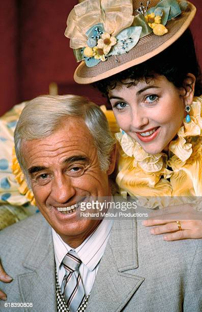 French actor JeanPaul Belmondo and Christiana Reali on the set of the play La Puce a l'Oreille directed by Bernard Murat in Paris