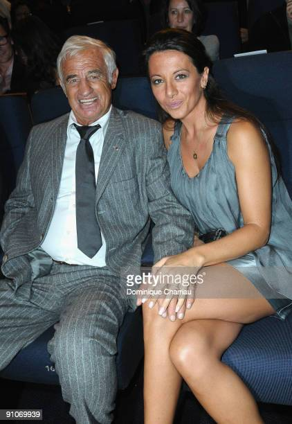 French Actor JeanPaul Belmondo and his girl friend Barbara Gandolfi attend 'Pierrot Le Fou' Evening in La Cinematheque Francaise at Cinematheque...