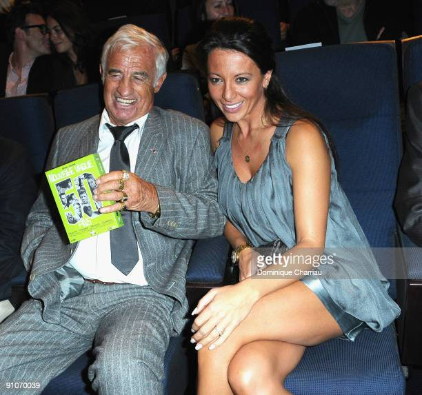 French Actor JeanPaul Belmondo and his girl friend Barbara Gandolfi attend Pierrot Le Fou Evening in La Cinematheque Francaise at Cinematheque...
