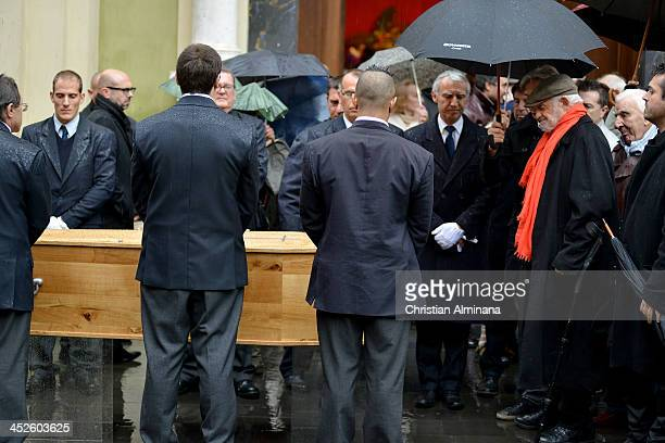 French actor JeanPaul Belmondo attends the funeral of director Georges Lautner on November 30 2013 in Nice France