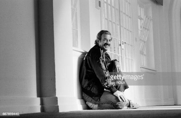 French actor JeanPaul Belmondo during rehearsal at the Theatre Marigny for the play Cyrano de Bergerac directed by Robert Hossein