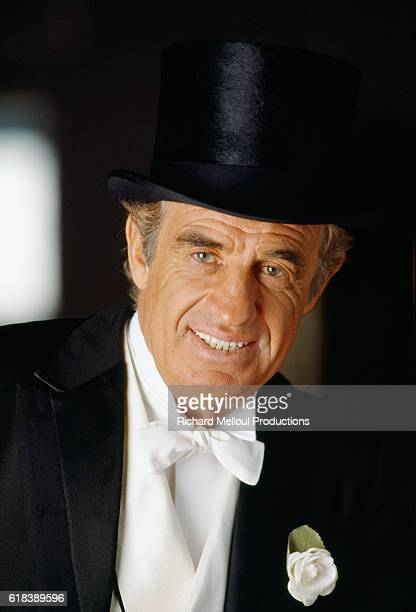 French actor JeanPaul Belmondo is dressed in a tuxedo for his role in the Georges Feydeau play Tailleur pour les Dames by Georges Feydeau