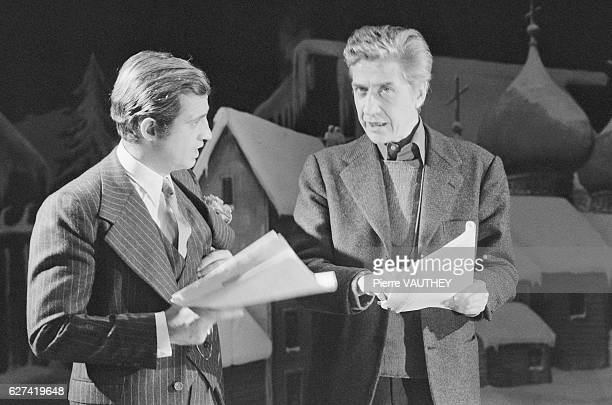 French actor JeanPaul Belmondo with director Alain Resnais on the set of his movie Stavisky
