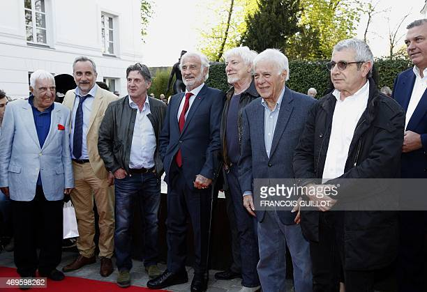 French actor Jean-Paul Belmondo with French actors Michel Boujenah, Guy Bedos, Hugues Auffray, Daniel Auteuil, Antoine Dulery and Charles Gerard,...