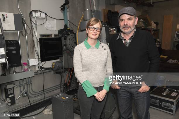 French actor JeanPierre Darroussin and french director Anna Novion in a movie theater projection room during the screening of 'Rendezvous a kiruna'...