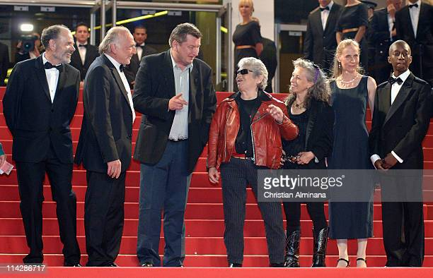 French actor JeanPierre Darroussin Blondin Miguel Director and writer Aki Kaurismaki actor Little Bob guest actress Kati Outinen and guest attend the...