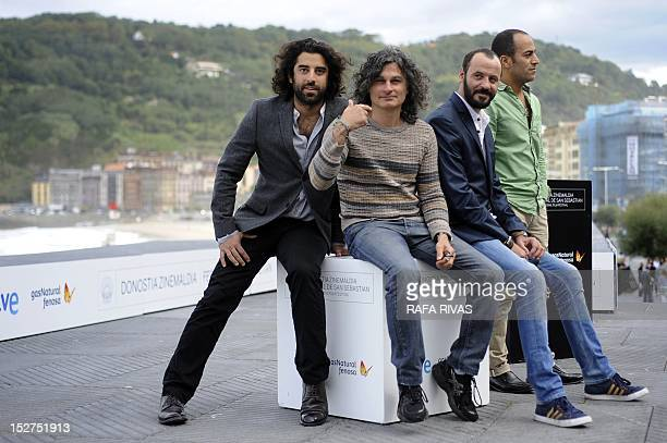 French actor Karim Saleh Lebanese film director Ziad Doueiri Palestinian actors Ali Suliman and Ramzi Maqdisi pose during a photocall after the...