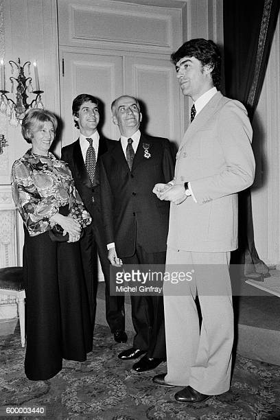 French actor Louis de Funes celebrates his birthday at Maxim's restaurant with his second wife JeanneAugustine Barthelemy and their sons Patrick and...