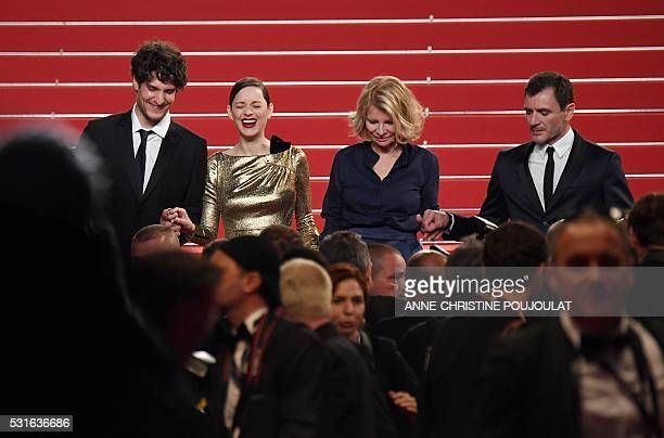 French actor Louis Garrel, French actress Marion Cotillard, French director Nicole Garcia and Spanish actor Alex Brendemuhl leave after the screening...