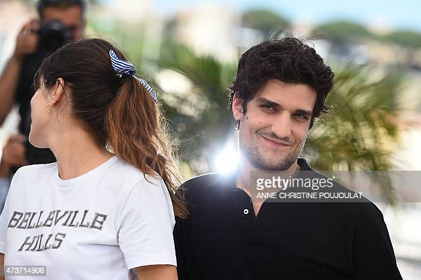 """French actor Louis Garrel poses with French actress and director Maiwenn during a photocall for the film """"Mon Roi"""" at the 68th Cannes Film Festival..."""