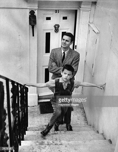 French actor Louis Jourdan at home with his son Original Publication Picture Post 8885 Just Take Your Choice pub 1957