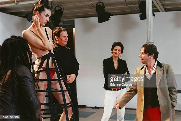 French actor Mathieu Amalric Tunisian fashion designer Azzedine Alaia Farida Khelfa American musician Lenny Kravitz and model Marie Meyer on the set...