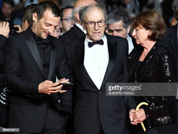 French actor Mathieu Kassovitz French actor JeanLouis Trintignant and his wife Marianne Hoepfner arrive on May 22 2017 for the screening of the film...