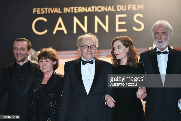 French actor Mathieu Kassovitz French actor JeanLouis Trintignant his wife Marianne Hoepfner French actress Isabelle Huppert and Austrian director...