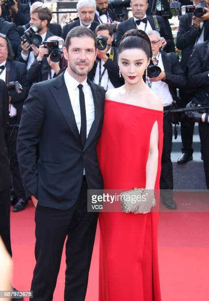 """French actor Melvil Poupaud and actress Fan Bingbing attend the """"The Beguiled"""" screening during the 70th annual Cannes Film Festival at Palais des..."""