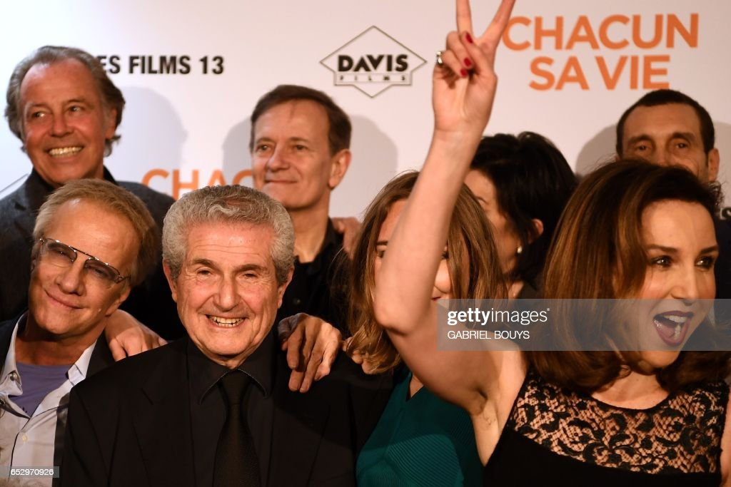 French actor Michel Leeb, French actor Christophe Lambert, French director Claude Lelouch, French actor Francis Huster and French actress Elsa Zylberstein pose during the photocall for the premiere...