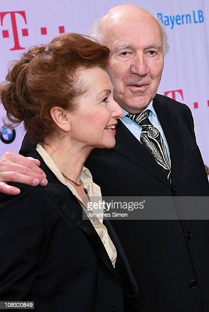 French actor Michel Piccoli and his wife Ludivine Clerc attend the Diva Award 2011 at Hotel Bayerischer Hof on January 25, 2011 in Munich, Germany.