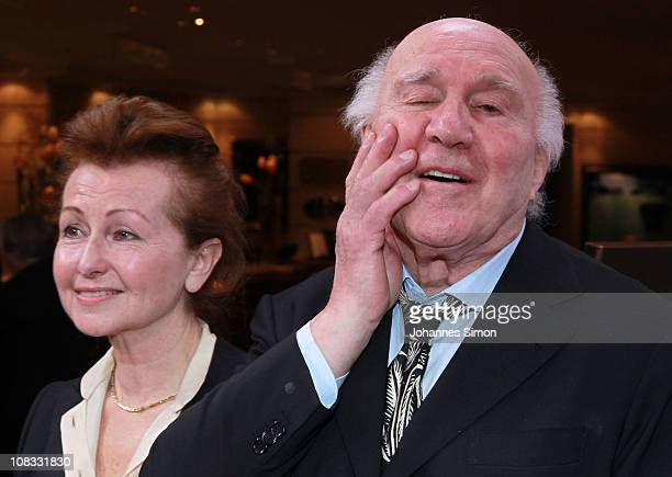 French actor Michel Piccoli and his wife Ludivine Clerc attend the Diva Award 2011 at Hotel Bayerischer Hof on January 25 2011 in Munich Germany