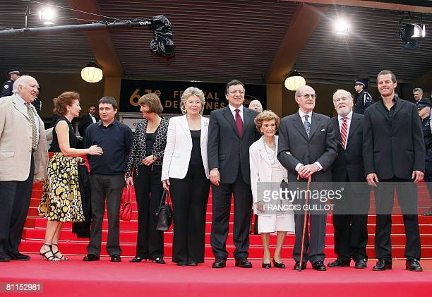 French actor Michel Piccoli and his wife Ludivine Clerc, French Culture minister Christine Albanel, EU Telecommunications Commissioner Viviane...