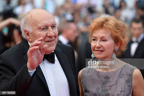 French actor Michel Piccoli and his wife Ludivine Clerc pose as they arrive for the screening of the film SaintLaurent at the 67th edition of the...