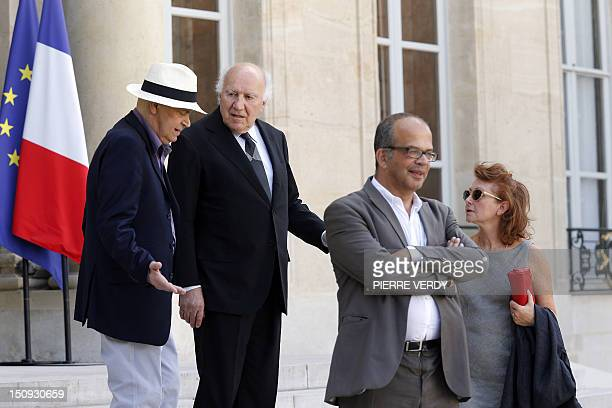 French actor Michel Piccoli his wife Ludivine Clerc and France's president's special advisor on medias and culture David Kessler leave the Elysee...
