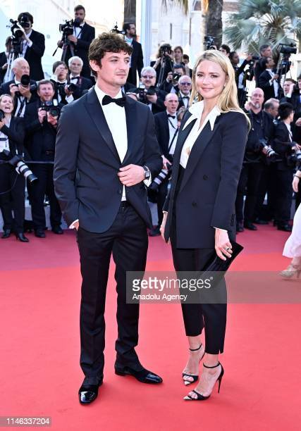 French actor Niels Schneider and French actress Virginie Efira arrive for the Closing Awards Ceremony of the 72nd annual Cannes Film Festival in...