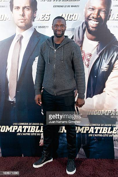 French actor Omar Sy attends 'De L'Autre Cote Du Periph' photocall at Hotel Me on March 14 2013 in Madrid Spain