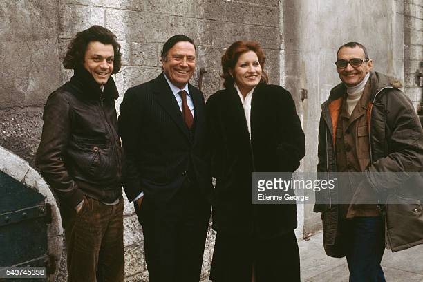 French actor Philippe Caubere Italian actor Raf Vallone French actress Andrea Ferreol and French director Rene Allio on the set of his film 'Retour a...
