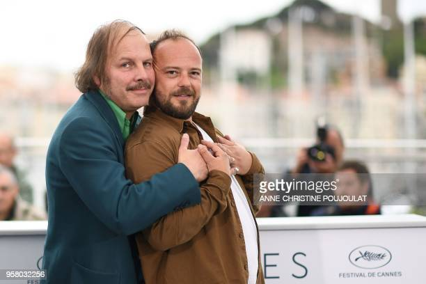 French actor Philippe Katerine and French actor Alban Ivanov pose on May 13 2018 during a photocall for the film 'Sink Or Swim ' at the 71st edition...