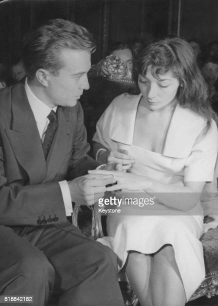 French actor Philippe Lemaire marries singer Juliette Gréco in a civil wedding at the town hall of the 8th arrondissement in Paris 25th June 1953