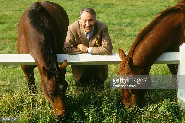 French actor Philippe Noiret on the set of Claude Chabrol's movie 'Masques'