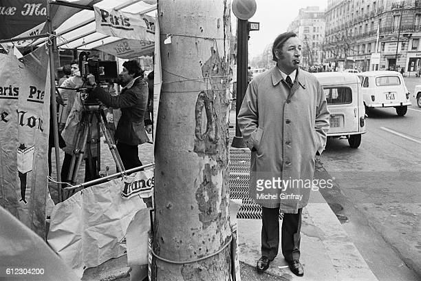 French actor Philippe Noiret on the set of L'Attentat The French Conspiracy directed by Yves Boisset